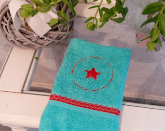 """Embroidered guest towel """"Medallion & Star"""""""
