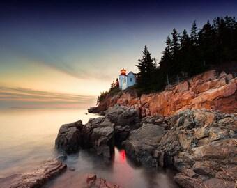 Maine Photography | Bass Harbor Head Lighthouse at Sunset | Sunset Photography | Lighthouse | Bar Harbor | Mounted Print