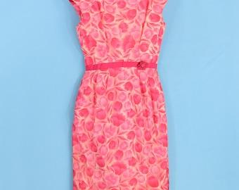 1950's Vintage Women's S Tulip Print Sheath Dress Medium Pink