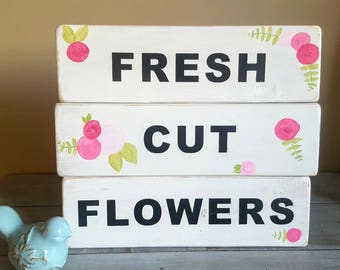"""Handpainted """"Fresh Cut Flowers"""" wood sign - perfect for Spring!"""