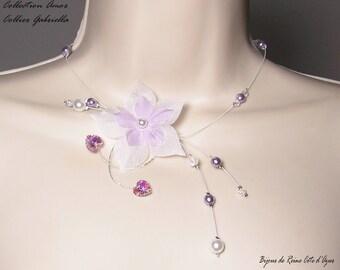 Wedding necklace Swarovski hearts Collection Amor - Gabriella white/purple necklace - wedding party