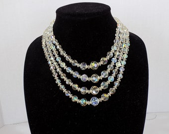 Vintage Four Row Necklace of Cut Crystal Beads