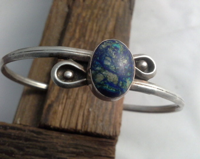 Vintage Azurite & Silver Hand Wrought Navajo Artisan Cuff Bracelet