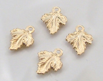 2 Pcs. - 14K Gold Filled Tiny Leaf Charms 8x10mm, GC37