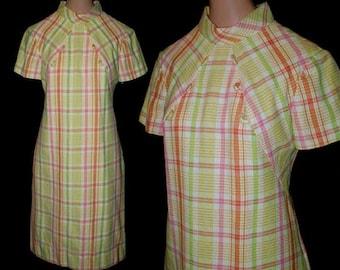 Vintage 60s Dress Preppy Plaid NOS S