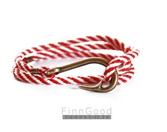 Fish hook bracelet, red striped with antique gold hook, nautical bracelet, fishhook bracelet, men bracelet