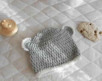grey with ears baby Hat