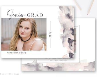 Senior Graduation Announcement Template - Watercolor Senior Card Templates - Graduation Cards