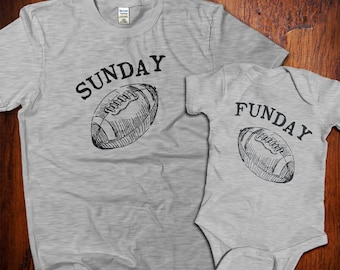 Sunday Funday, football shirts, dad and baby matching shirts, Father's Day Gift, father and son, dad and daughter, Gifts for Dad