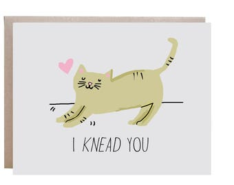 Cat Card, Love Card, Cat Love Card, I Need You, Pun Card
