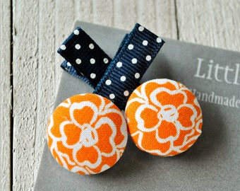 Orange Button Hair Clips, Girl Hair Clips, Baby Hair Accessories, Baby Bows, Baby Hair Clips, Infant Hair Clips, Girl Barrettes, Party Favor