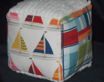 Sailboats and Plaid Fabric Boutique Block Rattle Toy