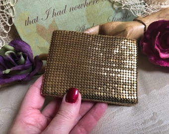 Vintage gold metal mesh small folding wallet, retro chain mesh gold wallet, mint condition gold metal mesh polished gold small wallet