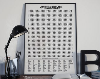 Deco poster - Compilation of swear words and insults - 70 x 50
