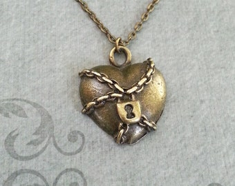 Heart Necklace Chained Heart Jewelry Locked Heart Charm Necklace Bronze Heart Pendant Necklace Bridesmaid Necklace Brass Necklace Love Gift