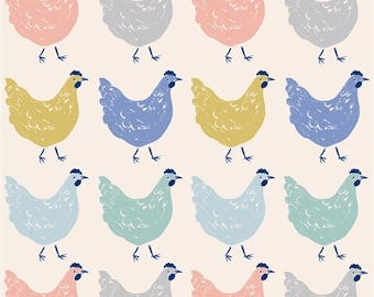 SALE! Roost Birch Organic Quilting Cotton Fabric; Adorable Chicken Print; Sewing; Clothing