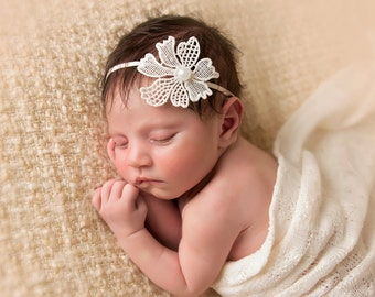 Vintage Newborn Headband Photography Prop-Baby Flower Headband-Baby Girl Head Band-Pearl Halo-Flower Girl Headband-Ivory Headband