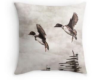Duck Pillow, Duck Decor, Nature Decor, Gift for Bird Lovers, Grey Pillow, Neutral Pillow, Grey Cushion,Bird Throw Pillow,Nature Pillow Cover