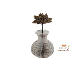 Mini Book Art Vase with Origami patterned  Kusudama Flowers - paper flowers - script paper - Mothers Day gift - 1st 4th Anniversary gift