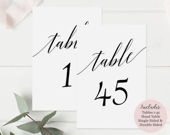 Printable Black Table Number Set - Includes Numbers 1-45 and Head Table - Instant Download PDF - Wedding Table Cards - 4x6inches - GD0515