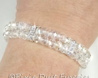 Swarovski Crystal Bridal Bracelet - Clear Crystal Bridal Bracelet - Double Strand Crystal Wedding Bracelet, Wedding Jewelry - Matilda WB0089