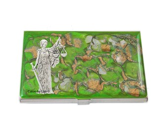 Libra Business Card Case Hand Painted Glossy Enamel Lime Green and Gold Quartz Inspired with Color and Personalized Options