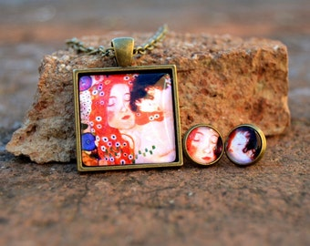"""Pendant and earrings """"mother and son"""" by Gustav Klimt"""