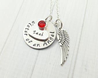 Sister Of An Angel Necklace Memorial Jewelry Funeral Gift Loss of Brother Sister Custom Name Birthstone Jewelry Angel Wing Jewelry