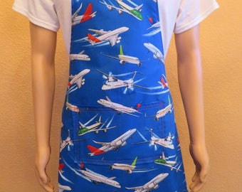 Men's Apron with Commercial Planes