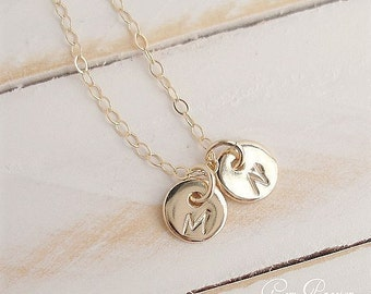 Tiny Disc Gold Necklace, 14k Gold Filled, Personalized, Custom, Handmade, Hand Stamped,You Choose Font and Initial, 2 Discs