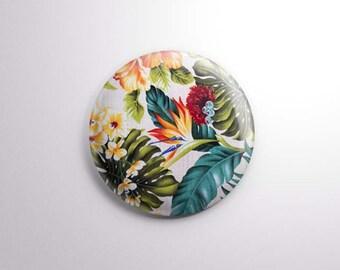 "Vintage Tropical Barkcloth print | 1"" One Inch Magnet OR pinback button badge pin | vintage midcentury modern motif Birds of Paradise"