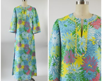 1970s Maxi Dress or Lounge Wear Caftan Large Bold Floral Print Cotton Blue and Yellow Size Small Beach Dress Pool Party Dress