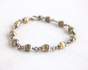 Yellow Cats Eye Beaded Bracelet Sterling Silver Chain Link Golden Beads Size 7 Hook Eye Closure Made in Mexico