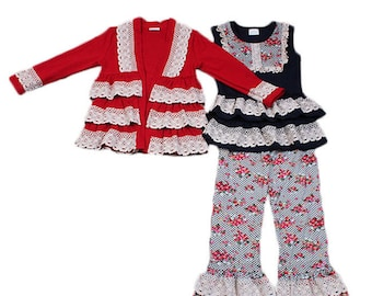 Girls Three Piece Cardigan with Triple Ruffle Pant Set with Lace Trim