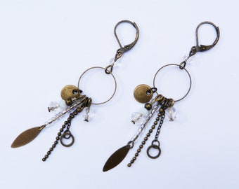 Earrings with bronze and transparent glass