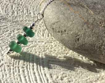 Sea glass stack sterling silver necklace - Trio of green pendant - Seaham sea glass jewellery - English sea glass