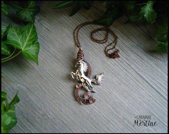 Horse pendant necklace, Vintage copper, tibetain silver horse charm.