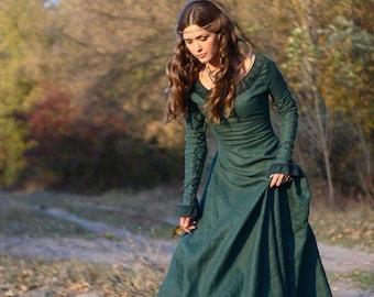 "16% DISCOUNT! Medieval Renaissance Flax Linen Dress ""Autumn Princess"""
