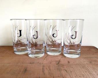 Vintage Silver Rimmed Monogram Glassware, Letter J, Initial J, Set of Four Milk Glasses