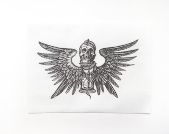 Memento Mori Patch - Winged Skull with Hourglass Sew On Patch - Black and White Patch - Tempus Fugit Patch - Time Flies Patch