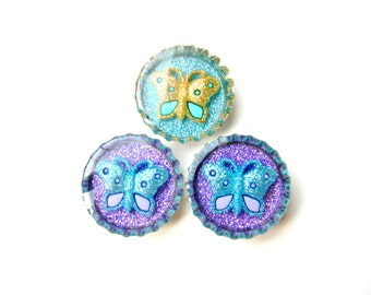 Bottle Cap Magnets - Butterflies Gold Teal Purple - Set of 3