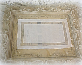 set of 9 vintage beverage linens monogrammed by hand white on white irish linen and organdy monogrammed coasters circa 1940s