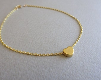 Initial Anklet Initial Heart Anklet Personalized Gift Gold Anklet Personalized Jewelry Dainty Anklet Custom Initial Anklets Gift For Her
