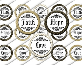Faith Hope Love  Bottle Cap Images 1 inch circle image sheet Digital Collage INSTANT DOWNLOAD
