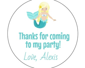 12 Mermaid Stickers, Blonde Mermaid Labels, Pink, Mermaid, Thank You Labels, Mermaid Birthday, Goodie Bag Labels, First Birthday, Mermaid