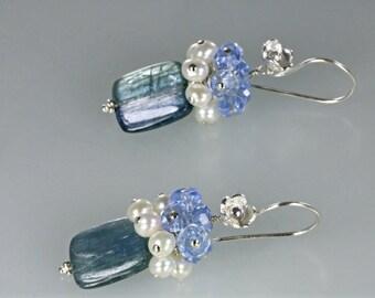 Kyanite Pearl Cluster Dangle Blossom Earring, Rectangle Kyanite Pearl Cluster Earrings