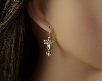 Crystal Drop Earrings Silver - Orchid Flower Earrings - Clear Crystal Dangle Earrings - Dogwood Earrings Swarovski - Floral Jewelry M1022