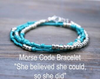 Inspirational Bracelet / She Believed She Could So She Did Bracelet / Boho Wrap Bracelet / Personalized Gift for Her / Motivational Gift