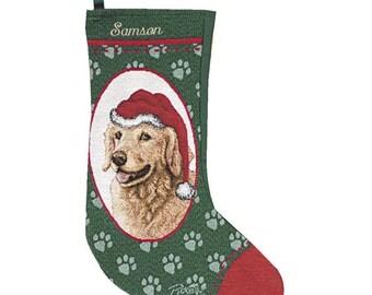 Golden Retriever Dog Personalized Christmas Stocking