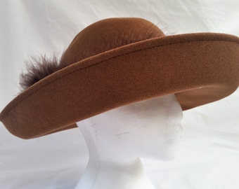 Vintage 60's Crochetta Italian Brown Felt Hat, Fur Trim Band